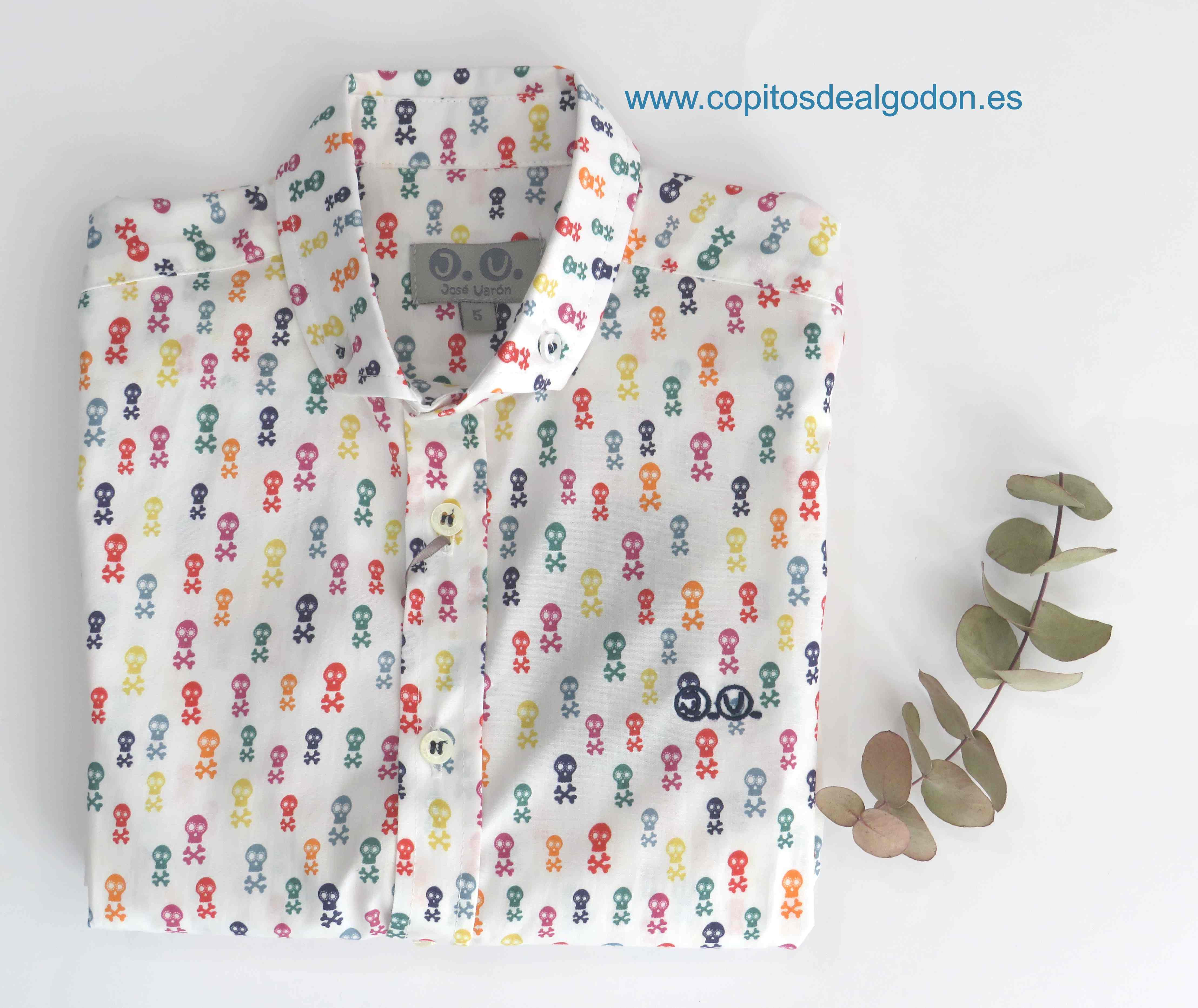 José Varón Verano 2020 Camisa bebé niño Blanca Calaveras